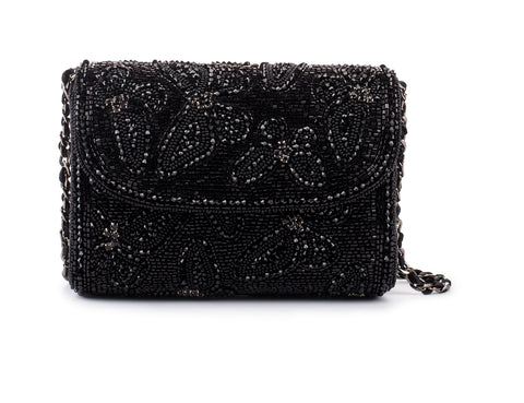 Aliferous Crystal Embellished Baguette Bag (BLACK)