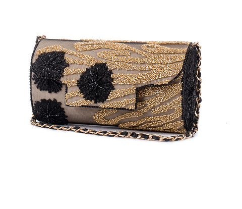 Indak Embellished Baguette Bag (GOLD/BLACK)