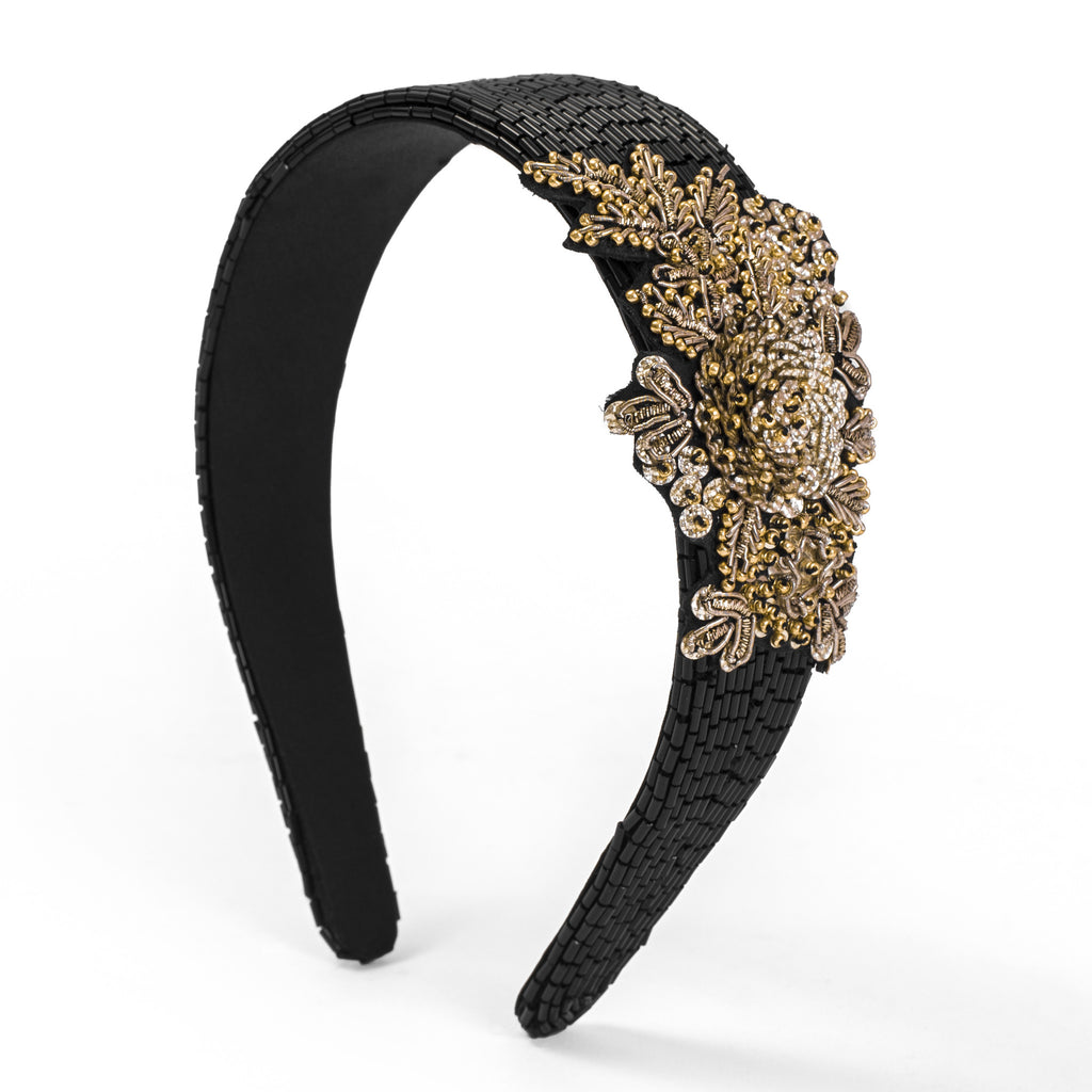 Mason Black Embroidered Hairband - Ruche & Hues