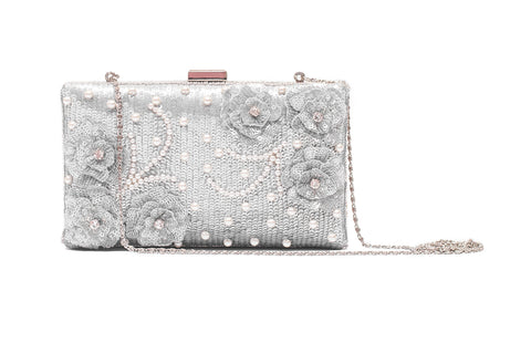 Cockaigne Pearl Embellished Clutch (SILVER)