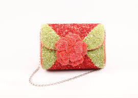 PEONY EMBELLISHED BAGUETTE BAG (ORANGE)