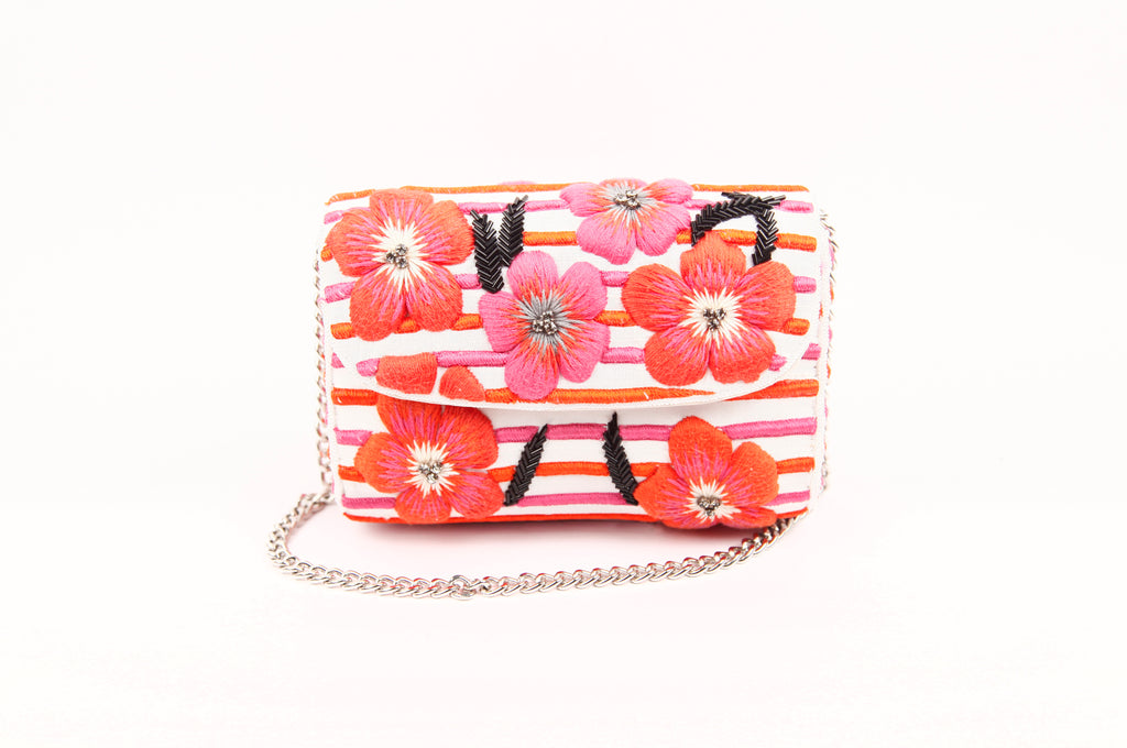 ZINNIA EMBROIDERED BAGUETTE BAG (RED/PINK)
