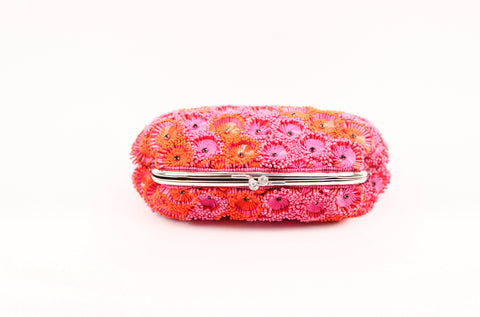 KYRA EMBELLISHED CLUTCH (ORANGE/PINK)