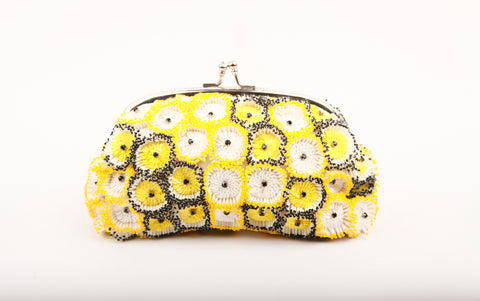 KYRA EMBELLISHED CLUTCH (YELLOW/WHITE)