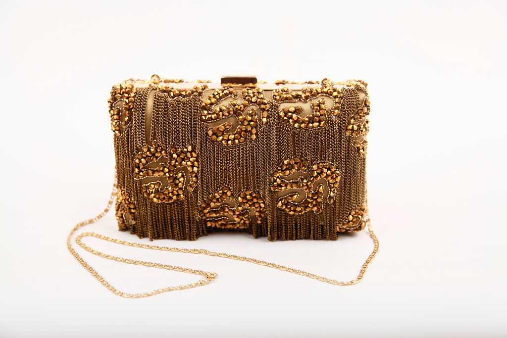 CHASCA FRINGED CLUTCH (GOLD)
