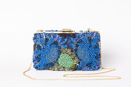 Gloria Crystal Clutch (Blue/Green)