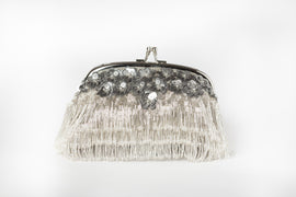 Daisy Fringed Clutch (Silver)