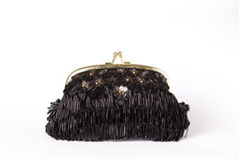 Daisy Fringed Clutch (Black)