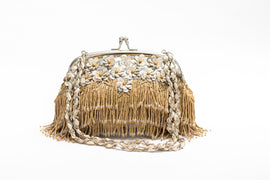 Daisy Fringed Clutch (Beige)