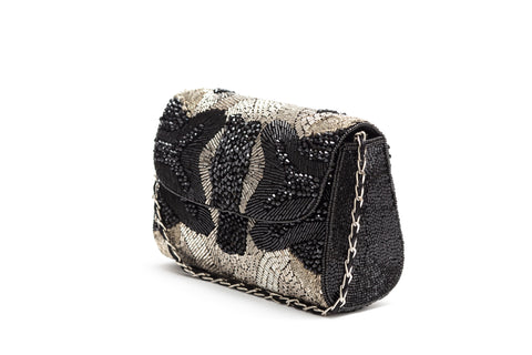 Gabriella Crystal Beaded Baguette (Black)