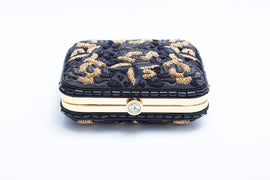 Mary Embroidered Clutch (Black/Gold)