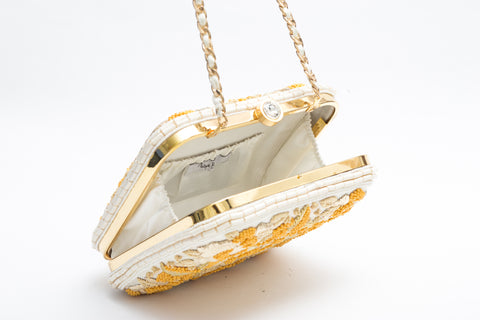 Mary Embroidered Clutch (Ivory/yellow)