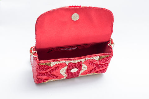 Gabriella Crystal Beaded Baguette (Red)