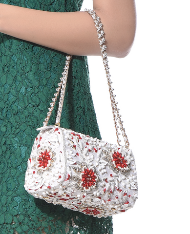 Red Splash Crystal Slingbag - Ruche & Hues  - 10