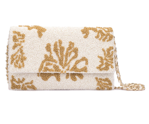 Floral Glitter Beaded Clutch - Ruche & Hues