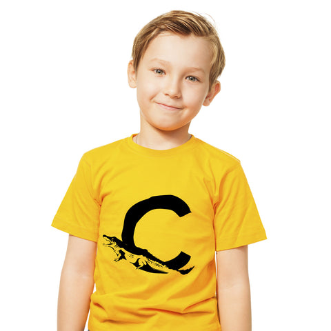 Boys Alphabet Letter C Crocodile A-Z T-Shirt