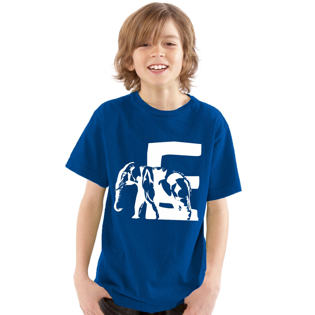 Boys Alphabet Letter E Elephant A-Z T-Shirt 3-4 / Blue by Tiger Prints UK  - 1