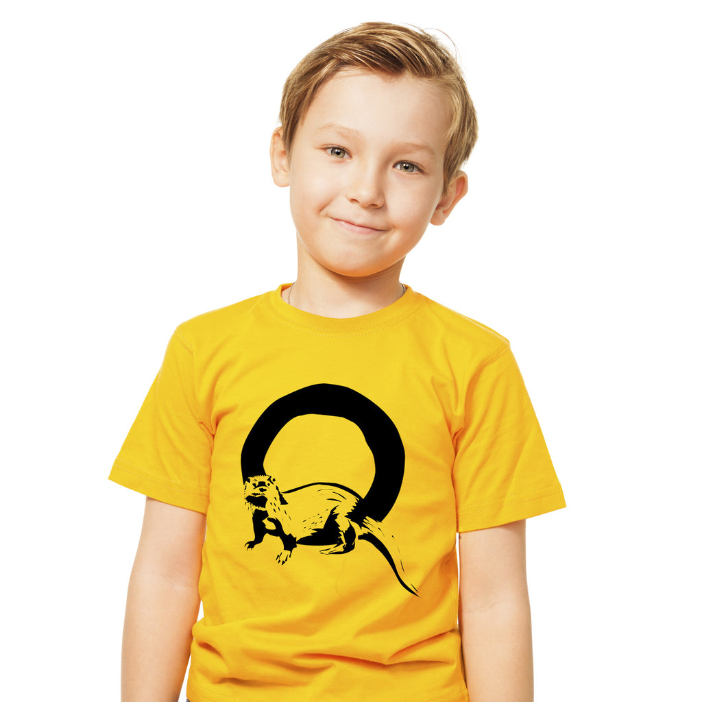 Boys Alphabet Letter O Otter A-Z T-Shirt 3-4 / Yellow by Tiger Prints UK  - 1