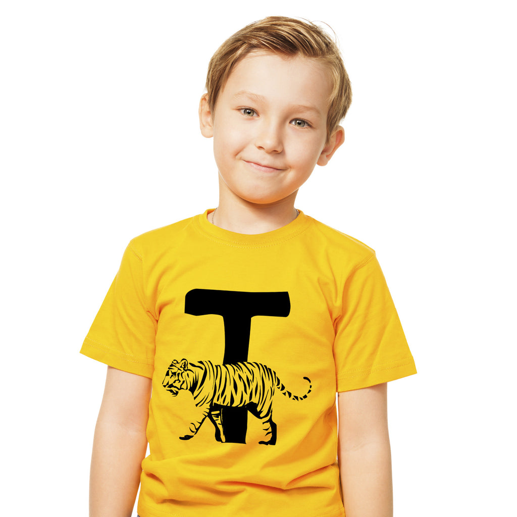 Boys Alphabet Letter T Tiger A-Z T-Shirt 3-4 / Yellow by Tiger Prints UK  - 1