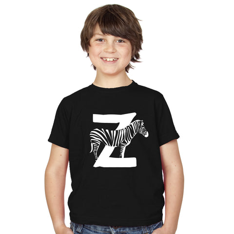 Boys Alphabet Letter Z Zebra A-Z T-Shirt - Tiger Prints