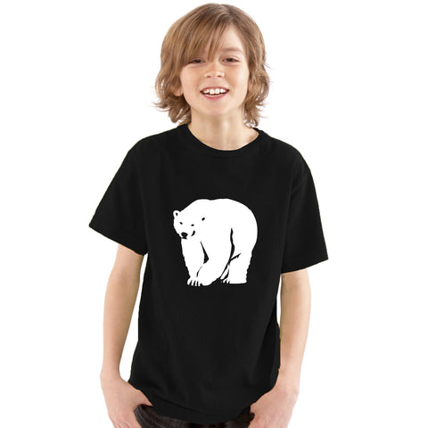 Boys White Polar Bear Silhouette T-Shirt