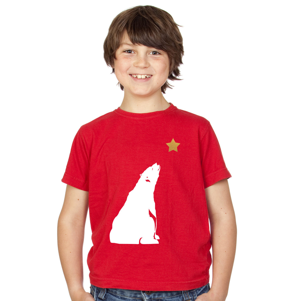 Boys Polar Bear and Gold Star Christmas T-Shirt 3-4 / Red by Tiger Prints UK  - 1