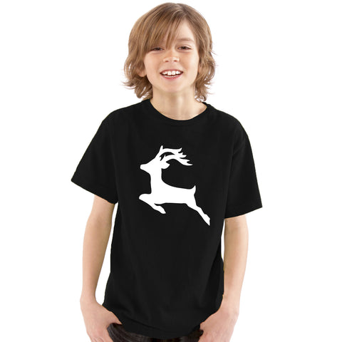 Boys White Reindeer Silhouette T-Shirt 3-4 / Black by Tiger Prints UK  - 1