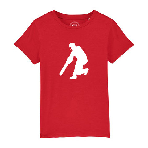 Boys Cricket T-Shirt 3-4 / Red by Tiger Prints UK  - 9