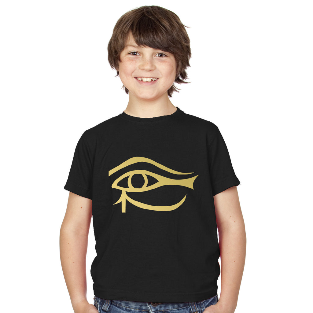 Boys Ancient Egyptian Eye of Ra T-Shirt 3-4 / Black by Tiger Prints UK  - 1