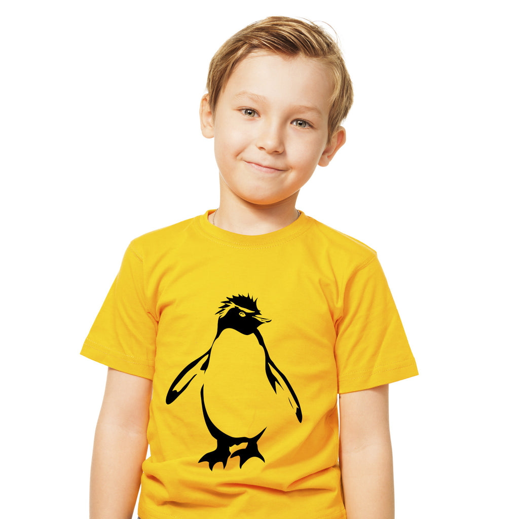 Boys Rockhopper Penguin T-Shirt 3-4 / Yellow by Tiger Prints UK  - 1