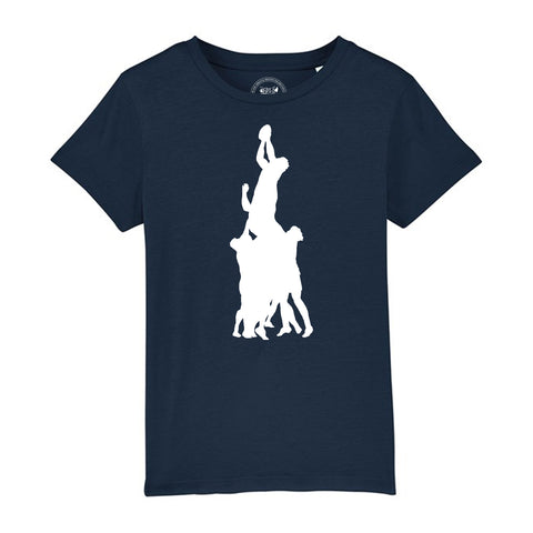 Boys Rugby T-Shirt with Line Out Design 3-4 / Navy by Tiger Prints UK  - 5