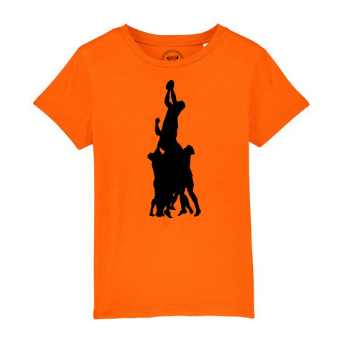 Boys Rugby T-Shirt with Line Out Design 3-4 / Orange by Tiger Prints UK  - 9
