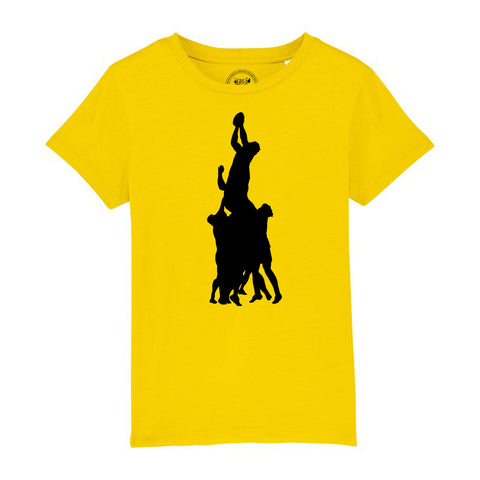 Boys Rugby T-Shirt with Line Out Design 3-4 / Yellow by Tiger Prints UK  - 13