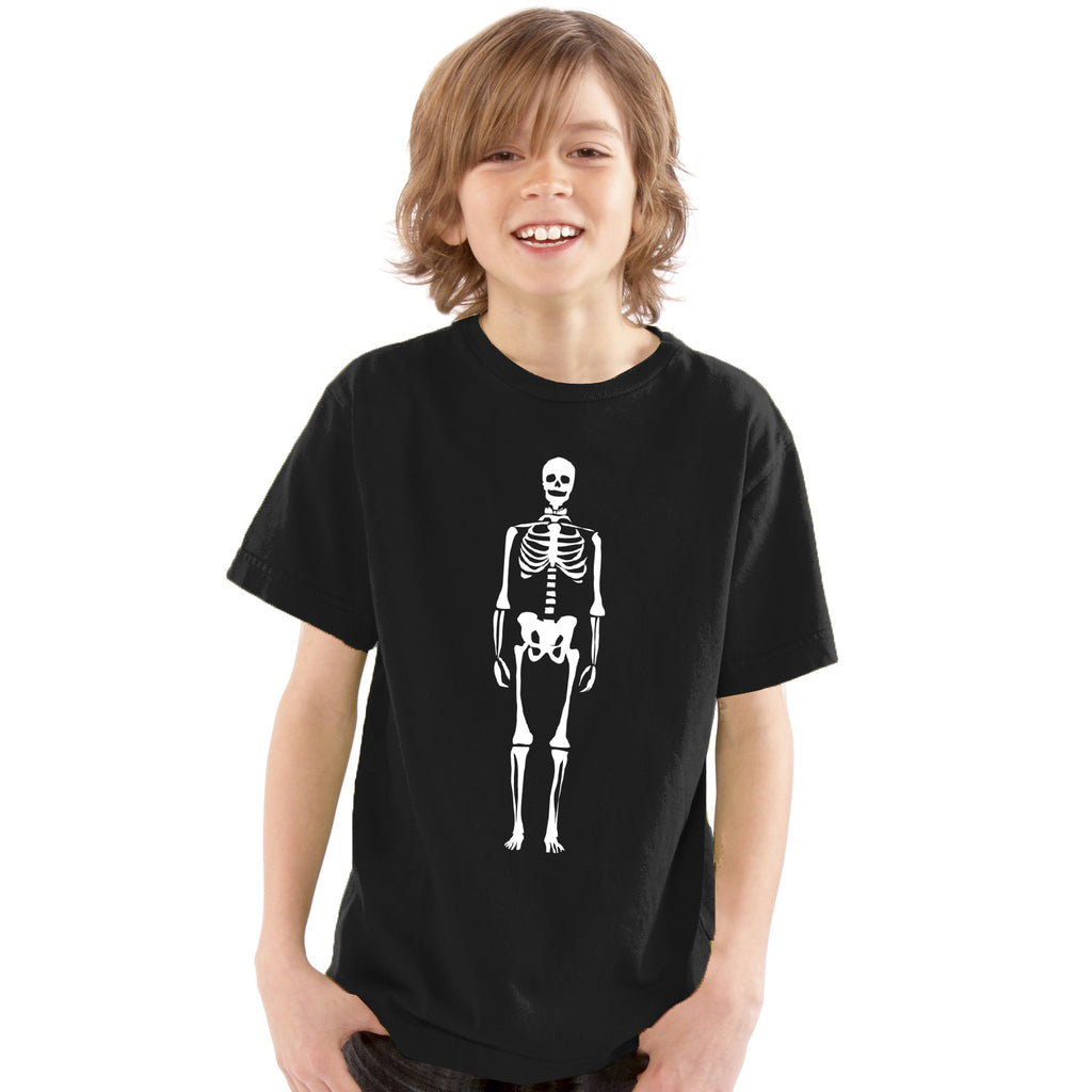 Boys Skeleton with Bow Tie T-Shirt 3-4 / Black / Glow In The Dark by Tiger Prints UK  - 1