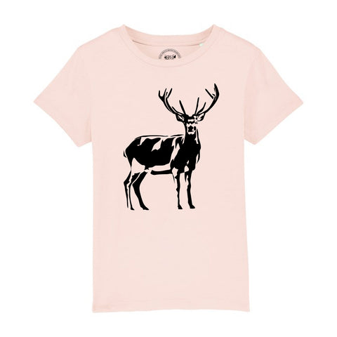 Boys Stag / Deer T-Shirt 3-4 / Pink by Tiger Prints UK  - 6