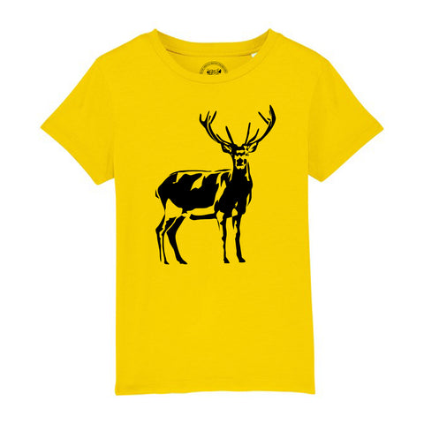Boys Stag / Deer T-Shirt 3-4 / Yellow by Tiger Prints UK  - 3