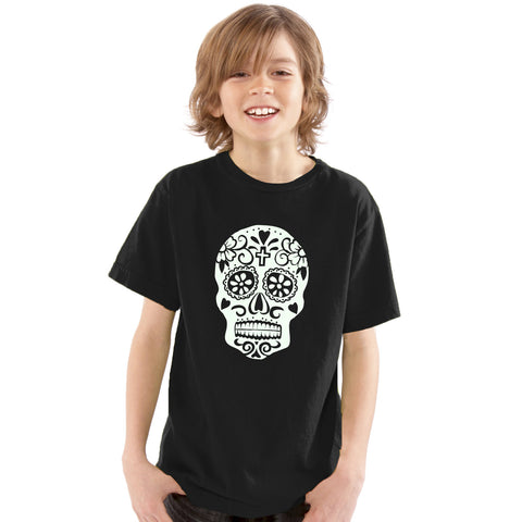 Boys Day Of The Dead Sugar Skull T-Shirt 3-4 / Black / Glow In The Dark by Tiger Prints UK  - 1