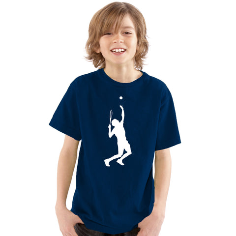 Boys Tennis T-Shirt with Large Tennis Player Design - Tiger Prints