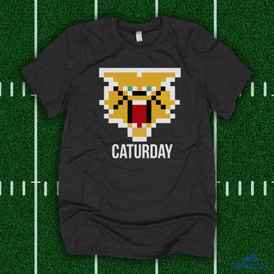 8 BIT Caturday Cat - grey tee