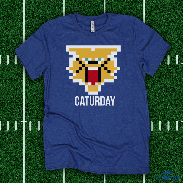 8 BIT Caturday Cat - blue tee