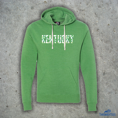 Kentucky Shamrock Script - Green Hoodie w/ Strings