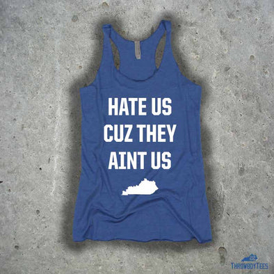 Hate us - ladies blue tank