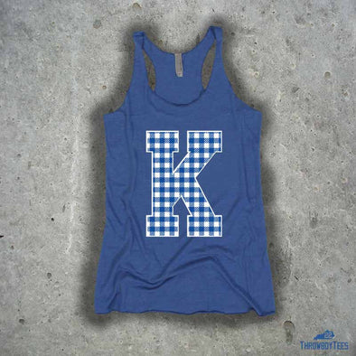 Gingham K - ladies blue tank