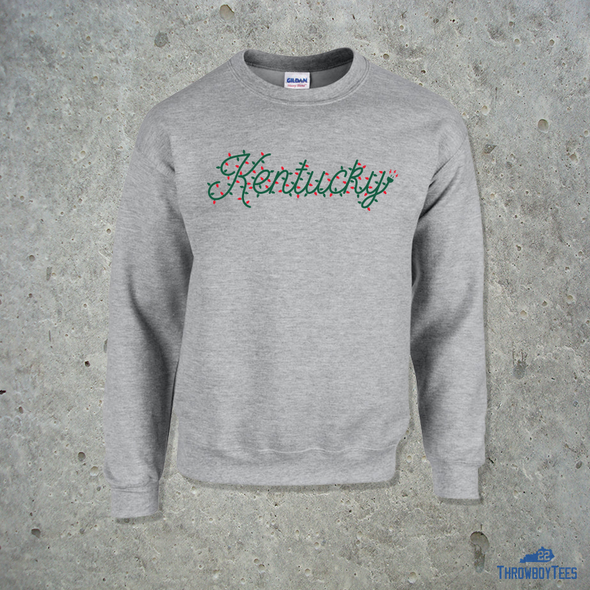 Kentucky Text Xmas Lights Crewneck Sweatshirt