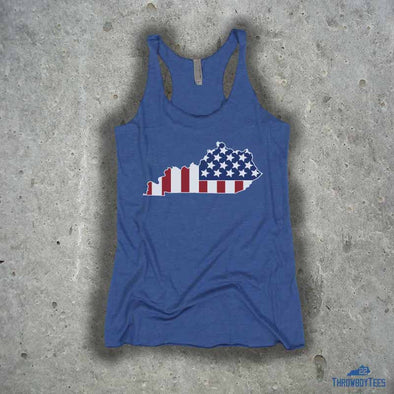 USA State - ladies blue tank