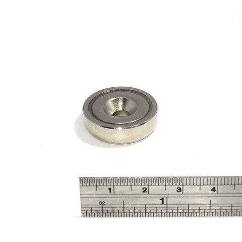 Neodymium pot magnets 25mm dia x 8mm + countersunk 5.5mm hole - Spider Magnetics Ltd  - 1