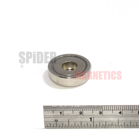 Neodymium pot magnets 25mm dia x 8mm + counter bore 5.5mm hole