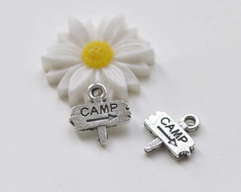 20 pcs Antique Silver Camp Signpost Charms 13x13mm A1380