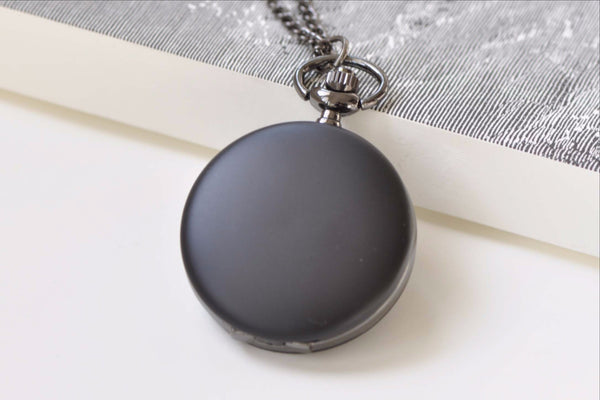 Matte Black Round Pocket Watch A8384