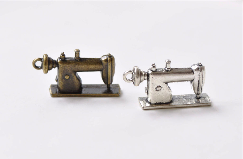 Supplies - Antique Bronze Silver Sewing Machine Charms